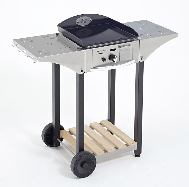 Photo d'un chariot pour plancha 400 mm en inox et bois