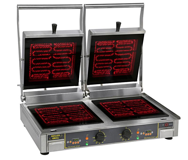 Photo d'un contact-grill infrarouge : grill panini vitrocéramique pro double allumé