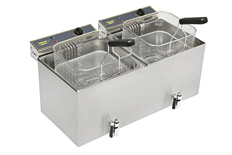Photo d'une friteuse électrique professionnelle double bacs avec vidange