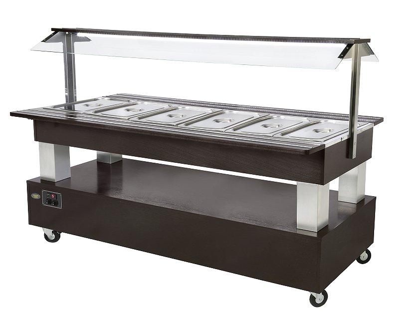 Photo d'un meuble buffet chaud pour restaurant, capacité 6 bacs GN 1/1 - SB 60 C