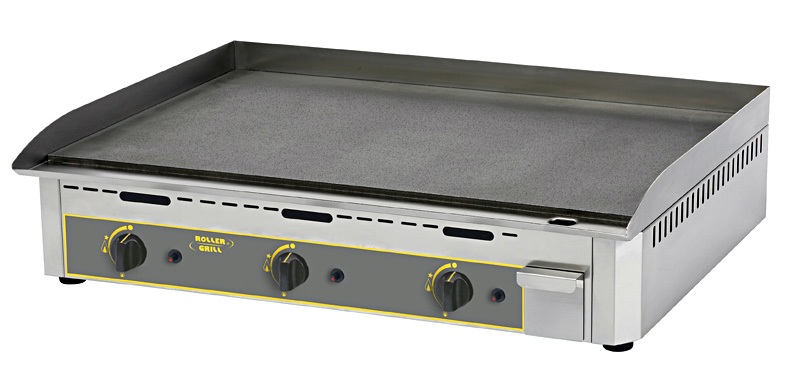 Photo d'une plancha 3 bruleurs gaz en acier décarburé-  plancha pro Roller Grill