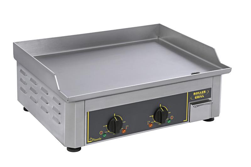 Photo d'une plancha électrique inox professionnelle avec 2 zones de cuisson