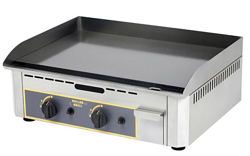 Photo d'une plancha gaz professionnelle en acier émaillé avec 2 zones de cuisson