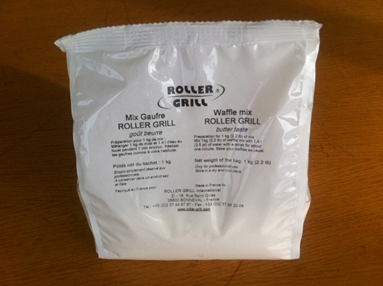 Photo d'un sachet de préparation pour gaufre : mix pâte à gaufre, mélange pâte à gaufre