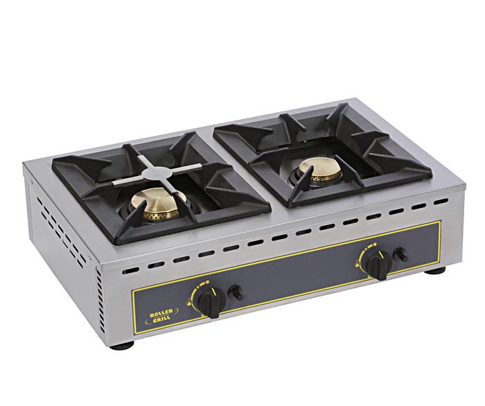 Photo d'un réchaud gaz professionnel double 7 + 5 kW pour traiteur ou restaurant