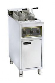 Photo d'une friteuse professionnelle sur pied Roller Grill 2 x 10 l (sur coffre, double cuve)