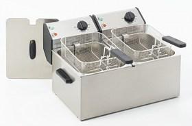Photo d'une friteuse électrique professionnelle double bacs 2x8 litres