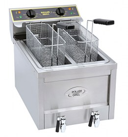Photo d'une friteuse électrique pro double bacs 2x8 litres avec vidange