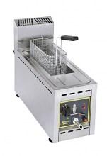 Photo d'une friteuse professionnelle à gaz, friteuse rectangulaire 8l avec vidange