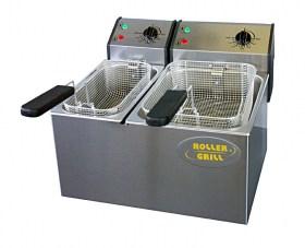 Photo d'une friteuse professionnelle deux bacs 5 et 8 litres, tout inox