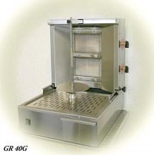 Photo d'une machine à kebab 2 feux au gaz, gril gyros et gril vertical au gaz