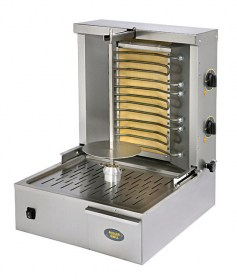 Photo d'une machine à kebab professionnelle électrique et grill viande vertical