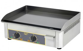 Photo d'une plancha électrique pro en acier émaillé avec 2 zones de cuisson