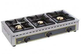 Photo d'un réchaud gaz professionnel 3 feux de 7 kW: réchaud pour restaurant