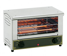 Photo d'un toaster pro infrarouge Roller Grill BAR 1000 en inox, très compact