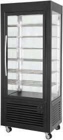 Photo d'une vitrine noire réfrigérée à froid ventilé négatif avec grilles