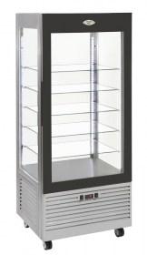 Photo d'une vitrine réfrigérée verticale positive à patisserie avec étagères verre - Roller Grill