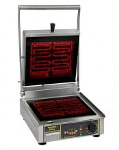 Photo d'un Vitro Speed Grill: grill vitrocéramique, toaster panini professionnel allumé