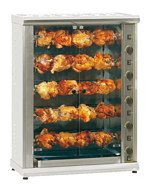 Photo d'une rôtissoire gaz professionnelle 20 poulets / 5 broches pour marché