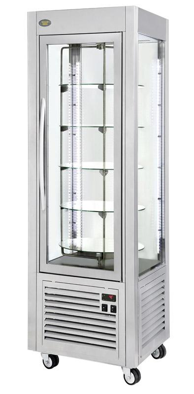 Photo d'une vitrine réfrigérée négative et ventilée avec plateaux tournants Roller Grill