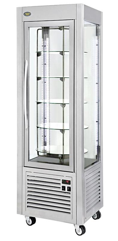 Photo d'une vitrine réfrigérée positive avec plateaux tournants