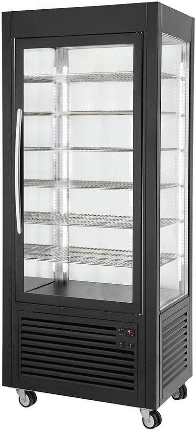 Photo d'une vitrine réfrigérée positive et verticale pour pâtisserie avec grilles